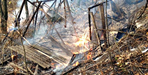 Через загорання сухого листя ледь не згоріла дача