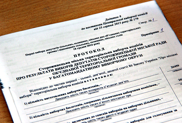 Результати виборів депутатів та голови Сторожинецької міської ради